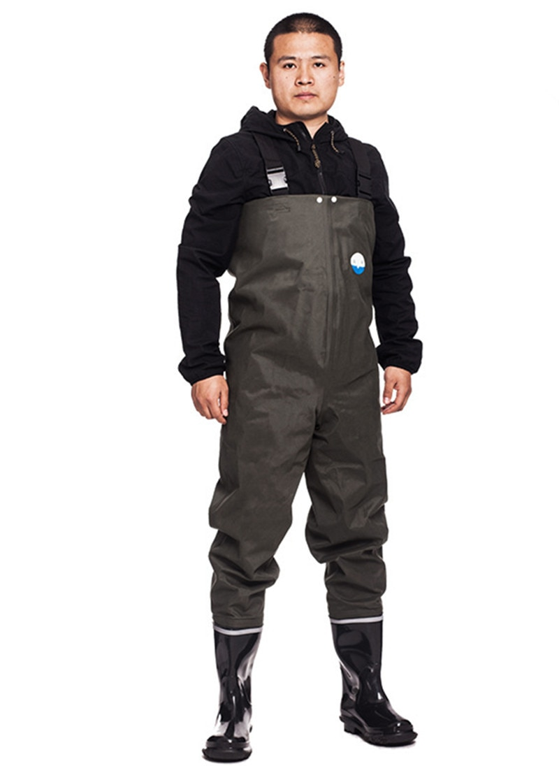 Outdoor breathable chest long 3-layer nylon wading pants waterproof men women fishing waders boots shoes jumpsuit trousers
