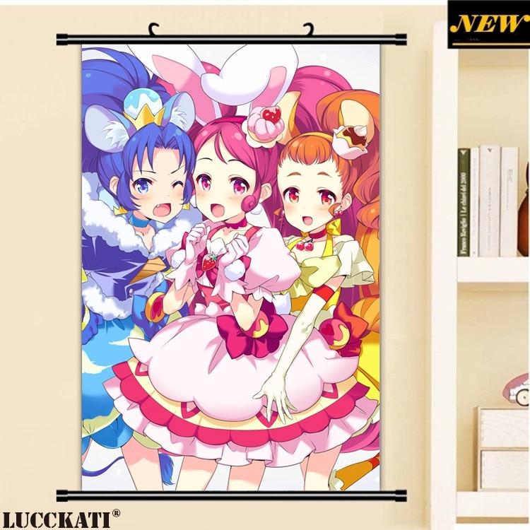 LUCCKATI Pretty Cure Kirakira Precure A La Mode loli lolita vestido orejas de animales dibujos animados pared cartel de desplazamiento pintura en lienzo