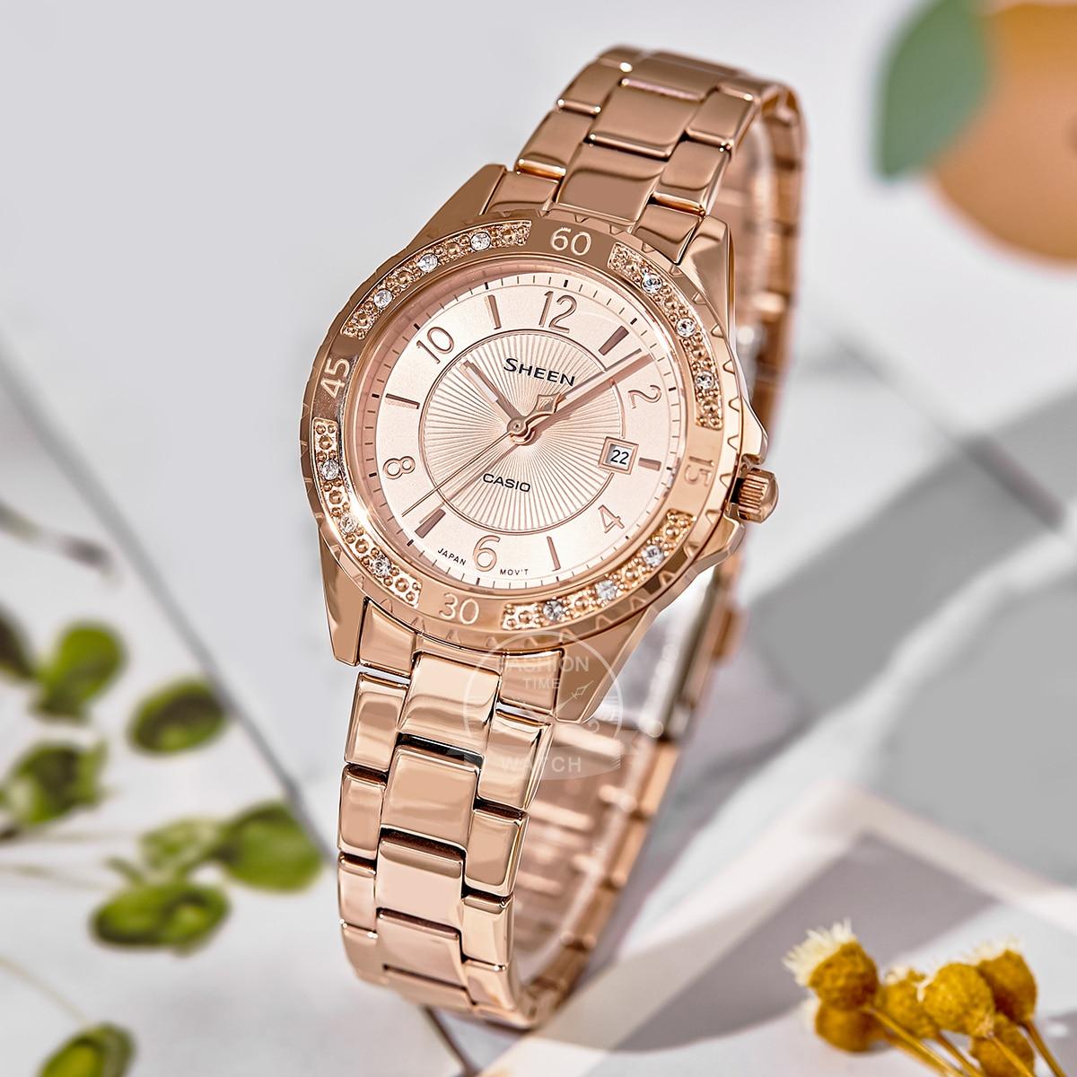 Casio watch ladies luxury  Swarovski diamond sapphire glass Rose women watch girl  watch 50m waterproof quartz relogio SHE4532PG enlarge