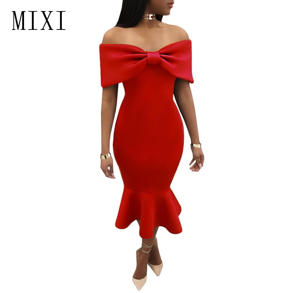 Vestidos MIXI 2020 elegante vestido de fiesta para mujeres Azul Rojo Negro capa de arco fuera del hombro vestido de sirena Vintage volantes Bodycon Vestidos