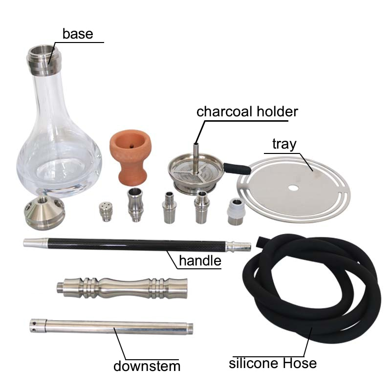 SY Stainless Steel Hookah Shisha Narguile Chicha Smoking Water Pipe With Carbon Fiber Handle Silicone Hose Shisha Accessories enlarge