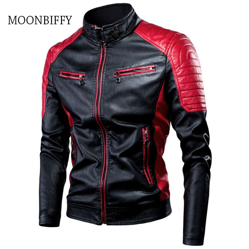 4XL Spring Autumn Spliced PU Leather Jacket Coat Male Biker Vintage Warm Stand Collar Slim Jackets Men Casual Motor Plus Size
