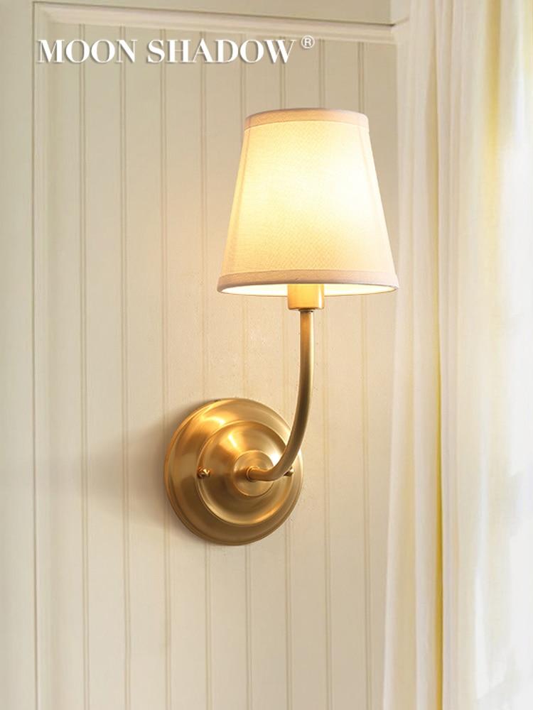 MOONSHADOW lámpara de pared Led cobre lleno moderno de pared luces para el hogar Dormitorio habitación decoración luminaria luz de pared 220V