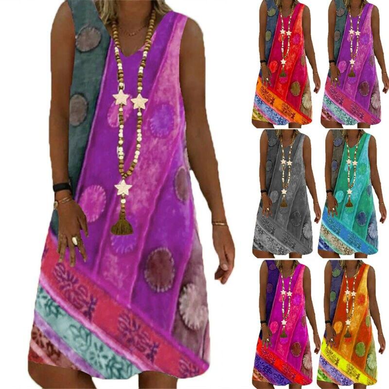 VICABO Women Dress 2021 V-neck Sleeveless Print Mini Dress S-5XL Summer Holiday Party Sundress Ladies Dresses fashionable v neck sleeveless crisscross women s flare dress
