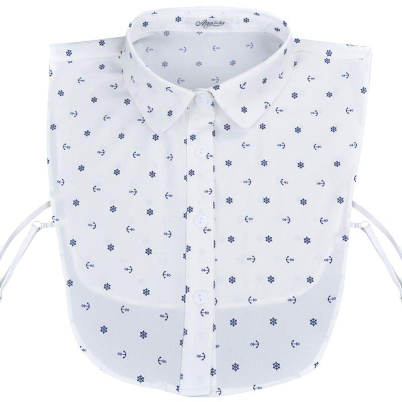 Blusa de las mujeres suéter chaleco azul marino estilo collar falso desmontable ancla timón impreso de algodón de media camisa corbata talla ajustable