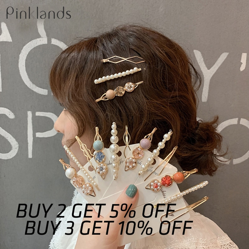 3PCS Girls Pearl Hair Clip Fashion Metal Hair Clips Barrette Stick Women Bobby Hair Pins Hair Styling Accessories for Wedding