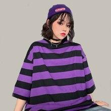 Fashion Hip Hop Women T-Shirt Loose Summer Oversize Striped O-Neck Female Tops Tees Purple Funny Japan Harajuku T Shirt Femme