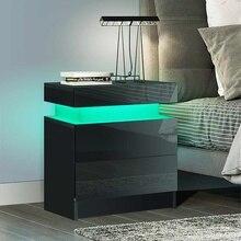 Mesa de noche LED RGB moderna con 2 cajones, organizador, armario de almacenamiento, mesita de noche, muebles de iluminación para el hogar y dormitorio
