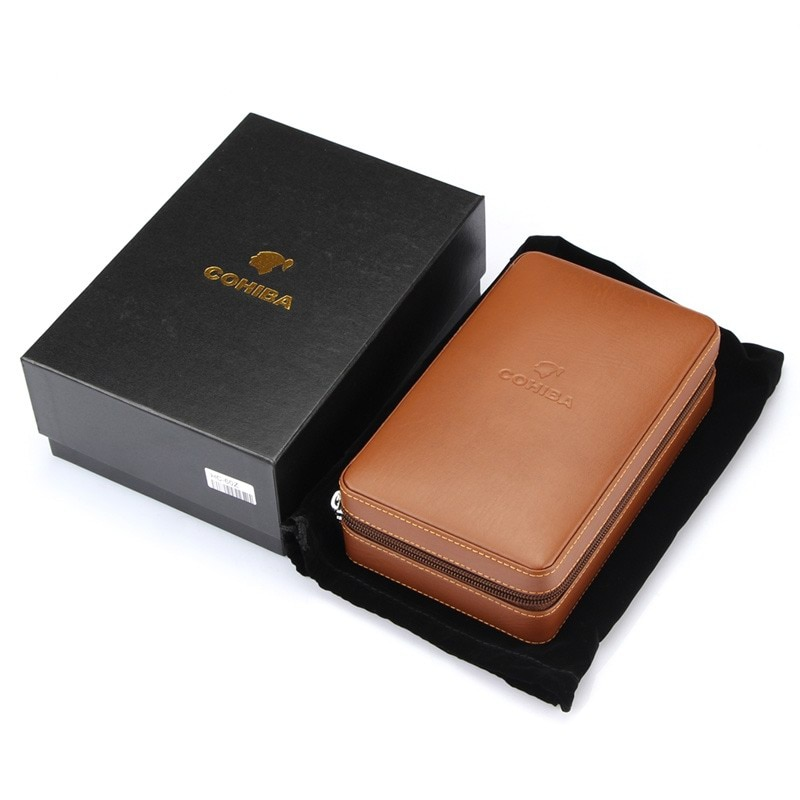 Cedar Wood Cigar Humidor Travel Portable Leather Cigar Case Cigars Box With Lighter Cutter Humidifier Humidor Box enlarge
