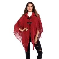 2021 autumn european and american womens pure color fringed knit cape hooded long sleeved cloak shawl ladies fresh to wear sexy