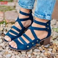 woman sandals shoes summer pumps high heels thick peep toe buckle strap fashion hollow solid gladiator plus size 34 43