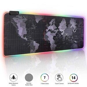Цветная (RGB) Мышь игровой коврик Мышь pad XXL большие Мышь геймер светодиодный Большой Мышь коврик компьютер ковер с Подсветка sem FIO клавиатура с...