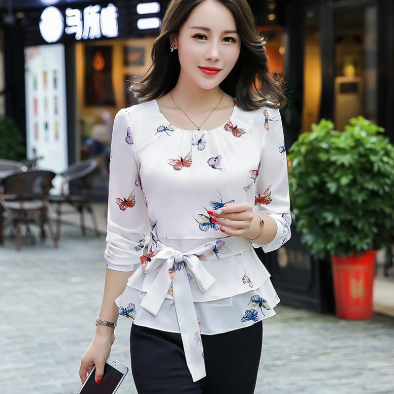 Camiseta de mariposa OL blusa blanca cereza cuello redondo manga larga Tops primavera talla grande 3XL camisas elegante otoño nueva Camisa femenina