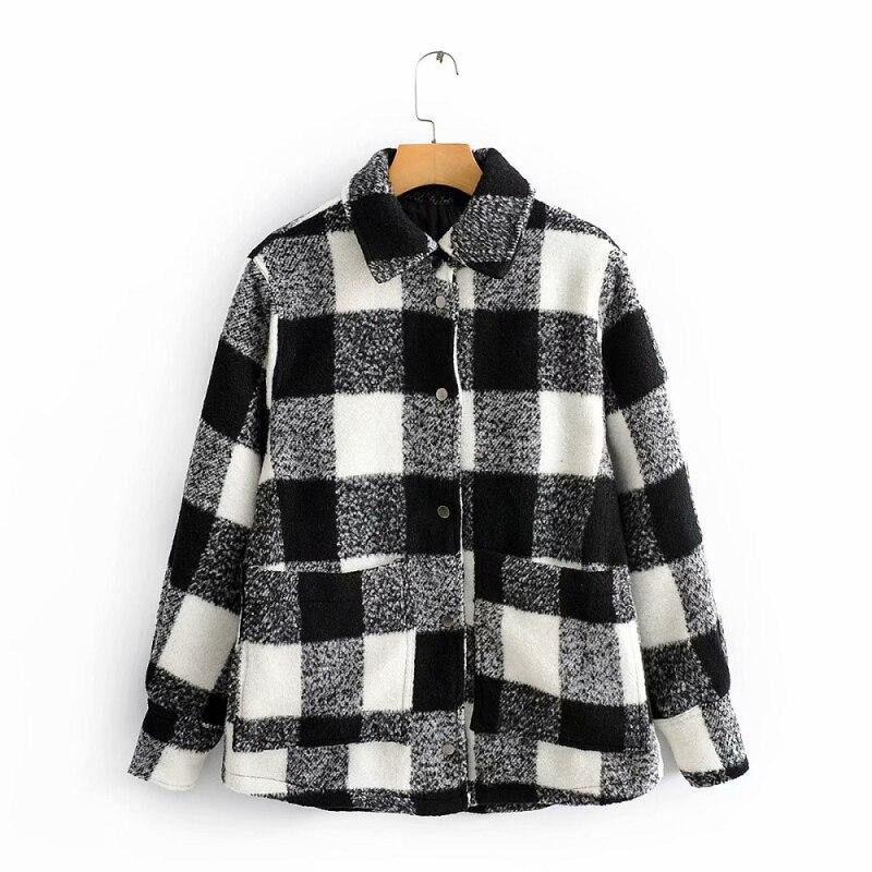 Vintage Chic Plaid Woolen Jacke Mode Frauen Herbst Dicken Shirt Jacke Elegante Damen Drehen-Unten Kragen Mäntel