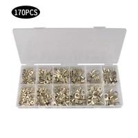 170pcs sc10 sc25 bare terminals tinned copper lug ring seal wire connectors bare cable crimpedsoldered terminal