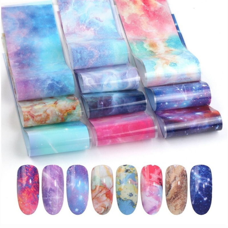10pcs/set Nail Holographic Starry Sky Mix Rose Flower Transfer Foil Nails Decal For Nail Art Decoration Manicure 10pcs holographic nail foil set transparent ab color transfer sticker decorations 2 5 100cm mix designs manicure nail art decals