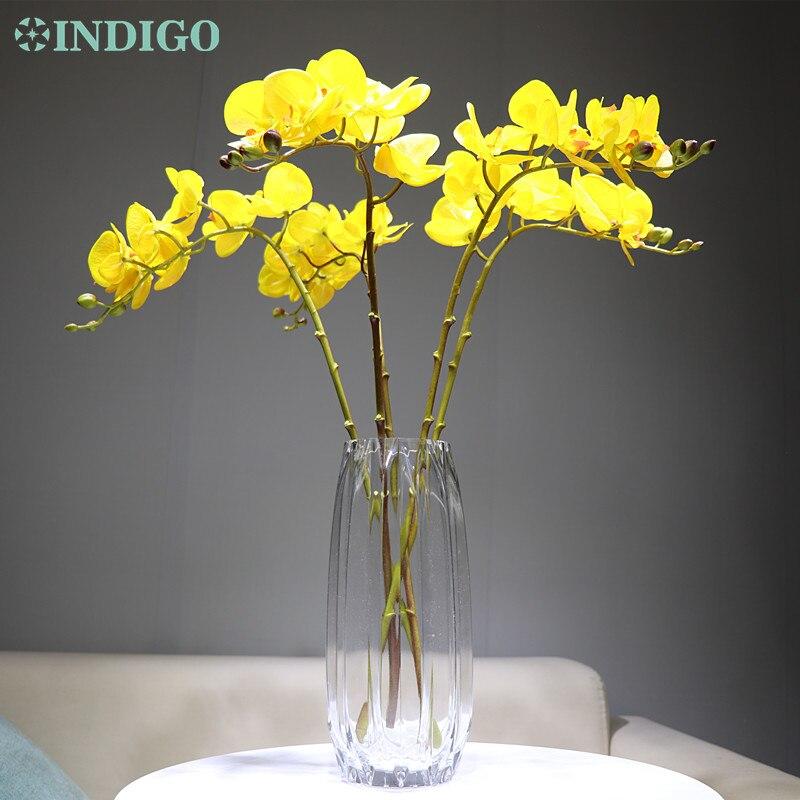 5 unids/lote amarillo Phalaenopsis orquídea mariposa 3D de pétalos Real tacto Artificial flor de la boda Floral fiesta envío gratis