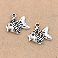10pcs antique silver plated fish charms pendants for jewelry making bracelet accessories diy handmade 17x17mm