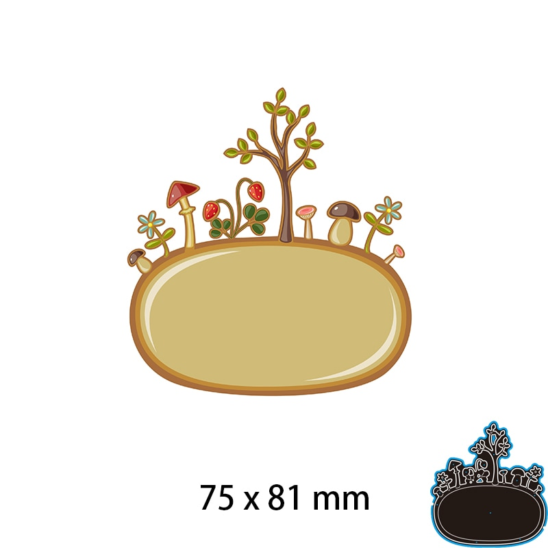 75*81mm Tree Mushroom Nature New Cutting Dies Scrapbook Decoration Embossing Paper Craft Album Card Punch Knife Mold