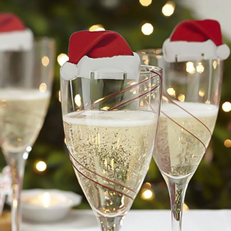 Weihnachten Dekorationen Für Haus 30PCS Weihnachten Rot Wein Papier Tasse Karte Weihnachten Hut Wein Glas Karte Decor navidad natal kerst @