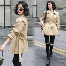 Sailor Collar Trench Coat Women's Mid-Length Small 2021 Autumn Korean Style Popular High-End Elegant