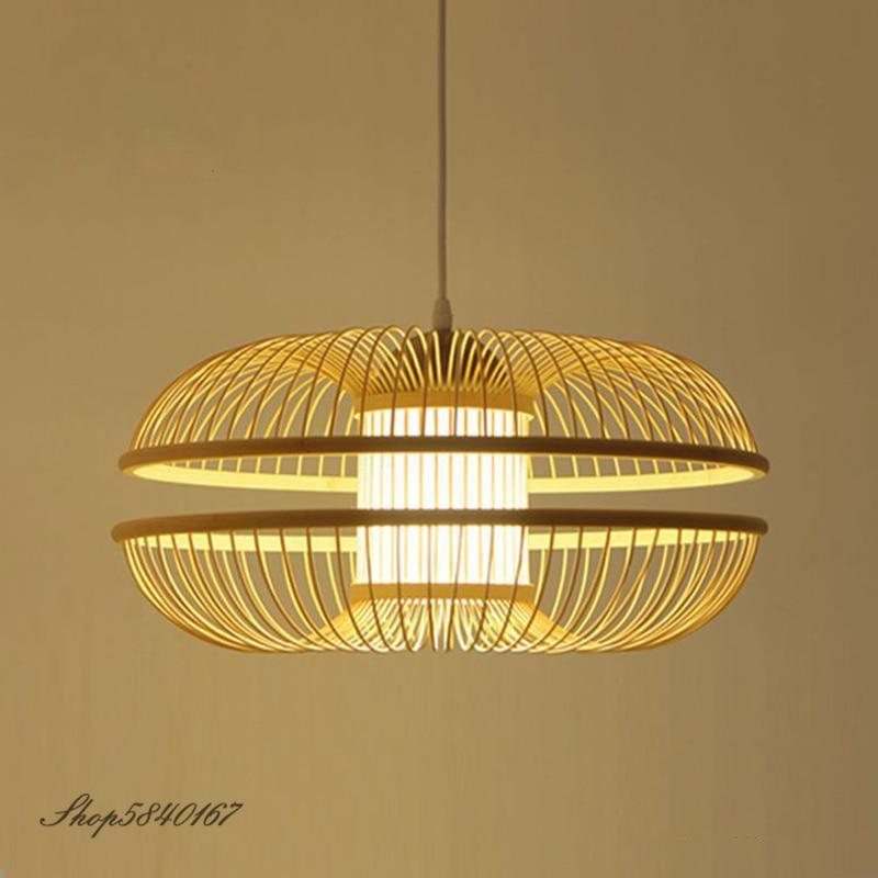 الريف قلادة مصباح الخيزران مصابيح معلقة لغرفة المعيشة الديكور Loft الإبداعية غرفة الطعام مصباح إضاءة متدلّي تركيبات إضاءة