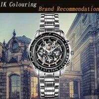 montre homme ik mens watch luxury brand mechanical watch hollow male clock all steel fashion waterproof 50atm automatic watch