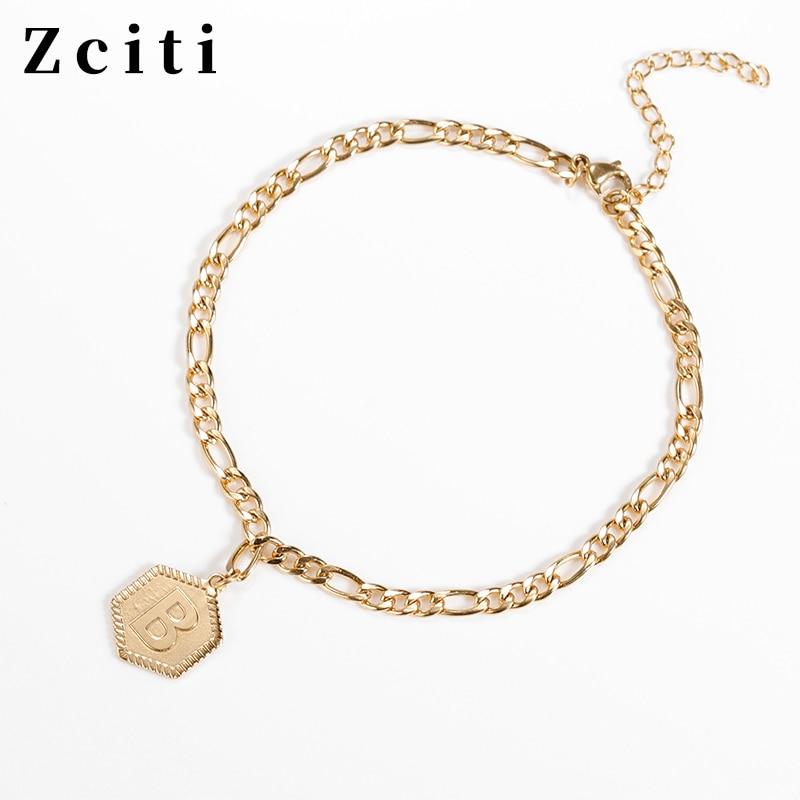 Custom A-Z Initial Letter Anklet For Women Stainless Steel Hexagon Pendant Female Nameplate Alphabet Neck Jewelry Gift