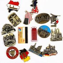 World tour souvenir metallo frigorifero pasta 3d magnetico Francia Gran Bretagna Germania Italia India tour souvenir regalo magnete del frigorifero