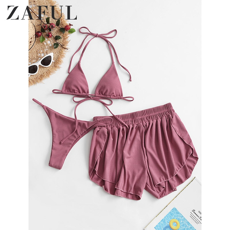 ZAFUL Ribbed Halter Three Piece Bikini Swimsuit