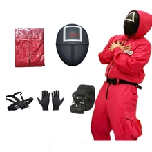 Squid game villain Red tuta cosplay costume Halloween party Round Six mask