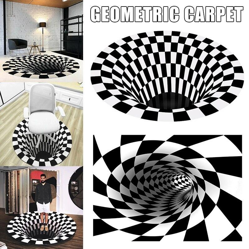 Recém vortex ilusão tapete 3d armadilha efeito impressão tapete quarto sala de estar estudo sala te889