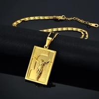 jesus piece bible cross pendant necklace christmas gift gold color christlicher cross men women christian jewelry