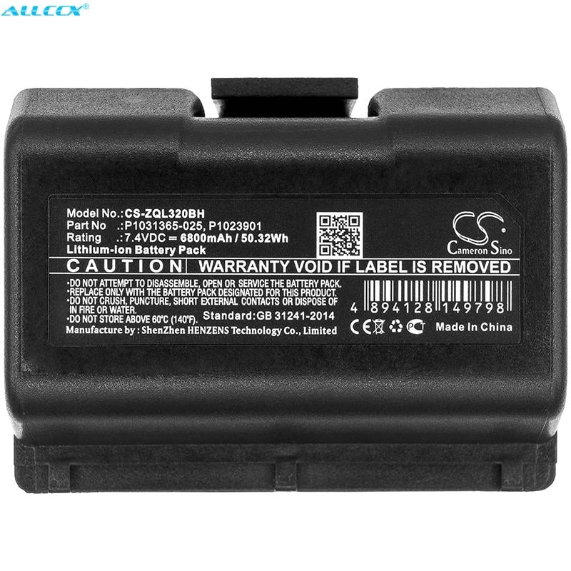 Cameron Sino batería de 6800mAh para cebra QLN220... QLn220HC... QLN320... QLn320HC... ZQ500... ZQ510... ZQ520... ZQ610... ZQ620... ZR628... ZR638... ZQ610HC... ZQ620HC