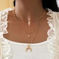 hi man 3pcsset punk simple clavicle chain zircon star moon pendant necklace women fashion temperament birthday jewelry