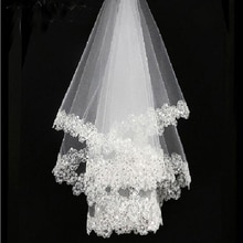 2020 в продаже Новое поступление белый кружевной край белый тюль Свадебные фаты для невест один ярус из бисера 120 см Фата для невесты Свадебны...
