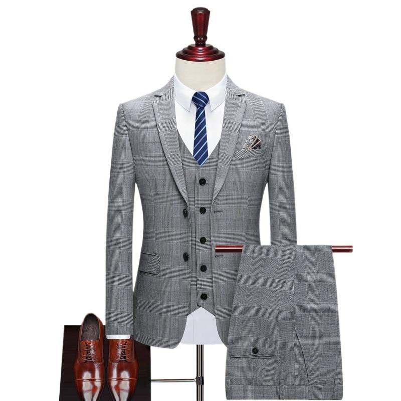 Men's Thousand Bird Style Suit Groom's Tuxedo Custom 3-piece Wedding Dress Slim Best Man's Suit (Jacket + Pants + Vest)