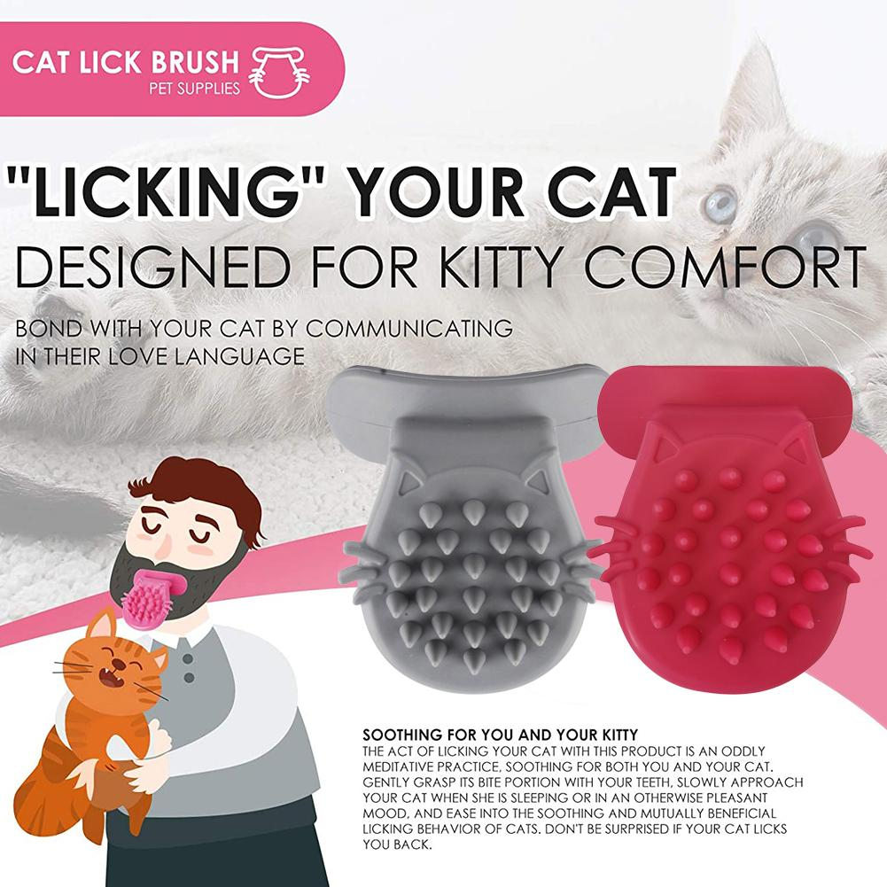 Cepillo de masaje Gato de silicona suave en forma de lengua, cepillo para eliminar el pelo de mascotas, cepillo de masaje para gatos y gatitos, herramienta de aseo del gato