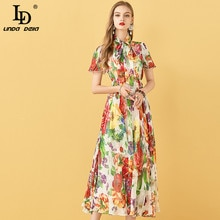 LD LINDA DELLA Summer Chiffon Dress Women Fashion Designer Butterfly Sleeve Vintage Draped Big swing Print Ladies Midi Dresses
