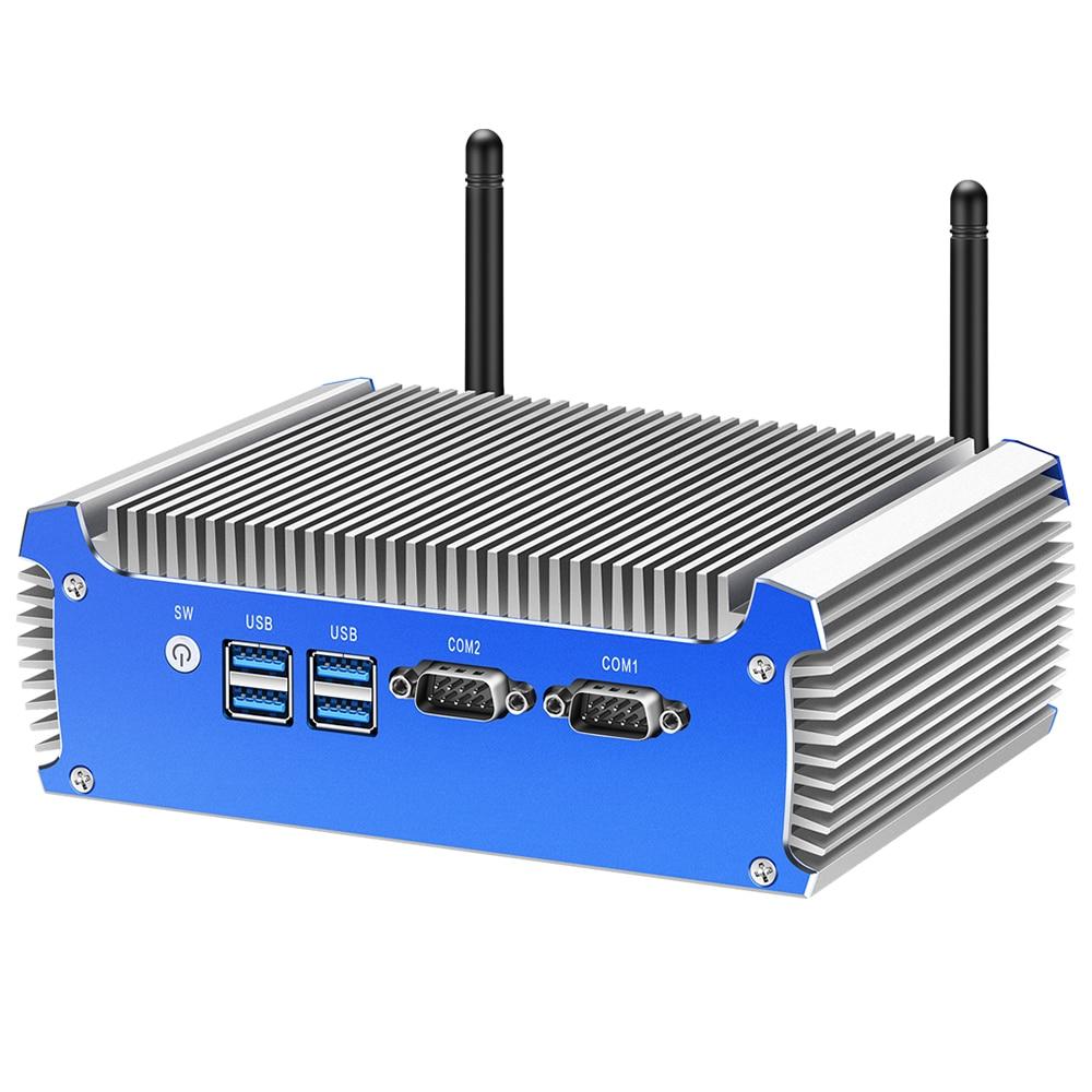 BEBEPC Industrial Fanless Mini PC Intel Core i7 4500U Celeron 2955U 3205U Computer Desktop HD Wifi PC HD 2LAN 2COM windows 10
