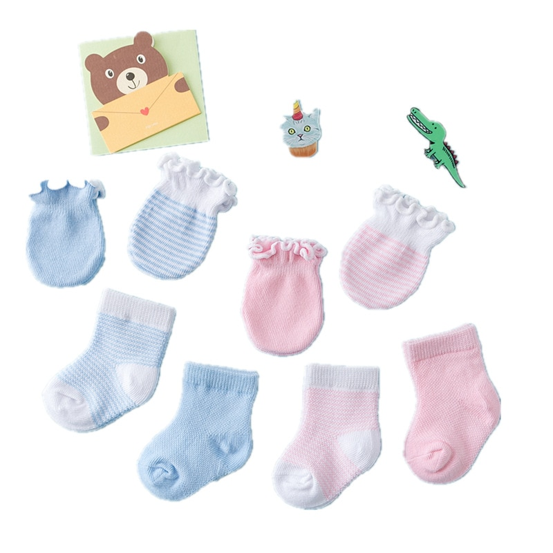 Niños niños recién nacidos calcetines guantes Anti-rayado transpirable elasticidad protección facial mitones regalo bebé niñas niño Calcetines