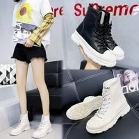 2020 autumn and winter new joker ins high shoes female students increase british style casual womens cotton boots