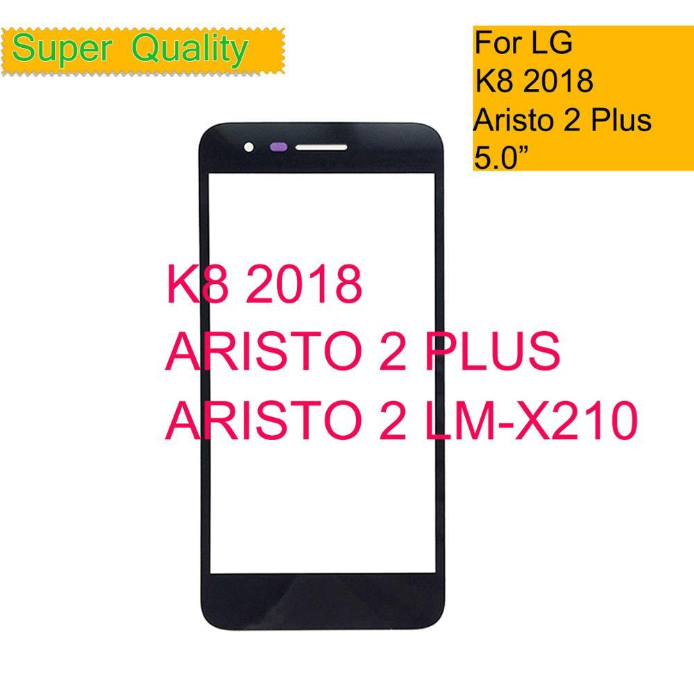 10 unids/lote para LG K8 2018 Aristo 2 Plus SP200 MX210 pantalla táctil Panel de vidrio frontal exterior lente de vidrio K8 2018 LCD cristal