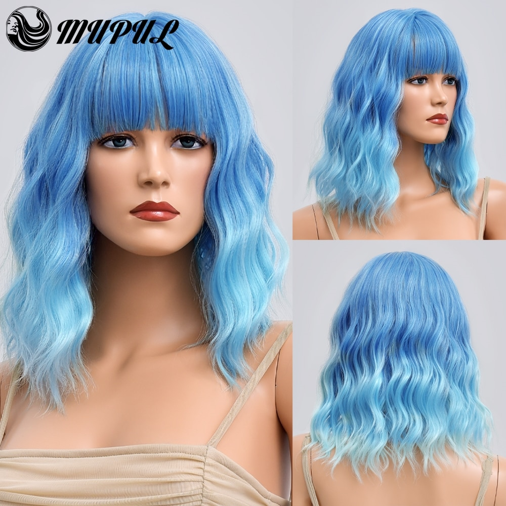 Blue Ombre Short Wave Cosplay Hair Natural Synthetic Wigs With Bangs For Women Heat Resistant Female Daily Fibre Wavy Wig