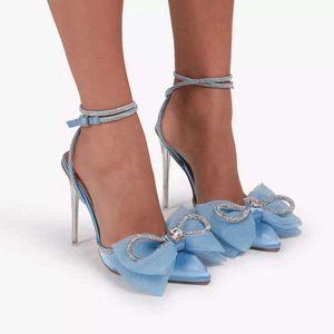 Summer Pointed Toe Rhinestone Women's Sandals Fashion Crystal Bow Stiletto High Heels Buckle Wedding For Women sandales femmes