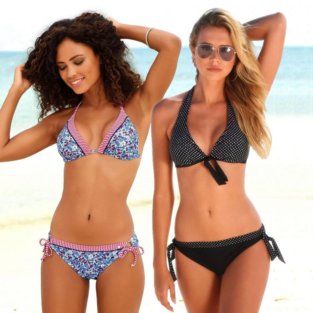 Bikinis mujeres brasileño impresión vestido de traje de baño triángulo inferior traje de baño V ropa de playa Sexy traje de baño de las mujeres