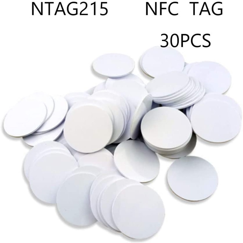 for Ntag215 NFC Tags,Blank PVC Coin NFC Cards Compatible with All NFC Enabled Mobile Phones & Devices-(30PCS) enlarge