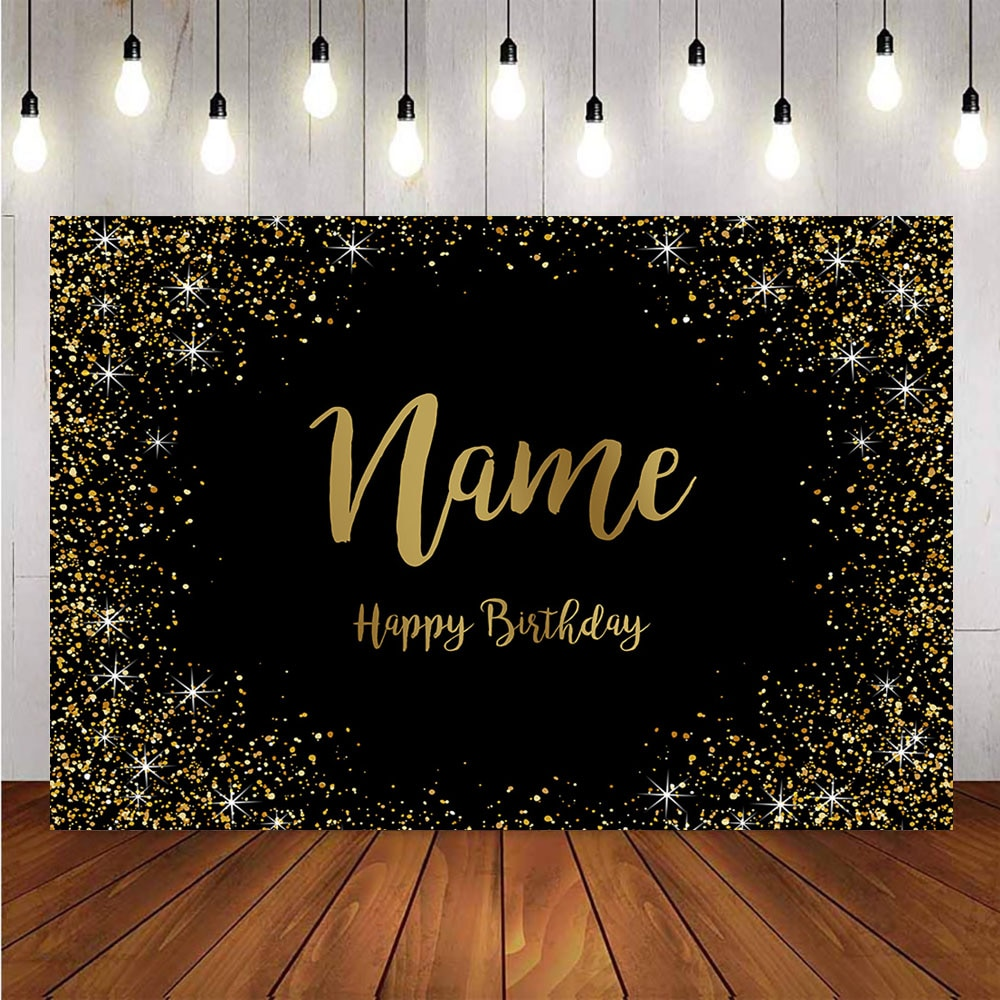 Gold glitter happy birthday party custom background for photo studio black happy birthday decoration supplies name DIY backdrops