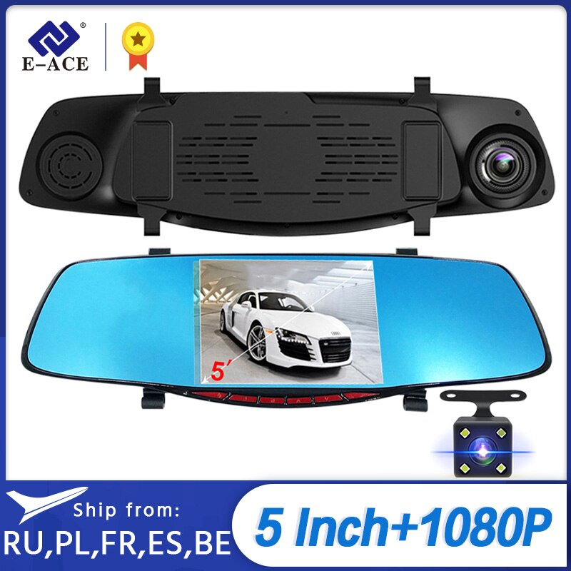 "E-ACE Car DVR 5.0 ""Car Rearview Mirror Camera Full HD 1080P Night Vision Video Recorder Dual Lens Auto Registrator Dash Cam"