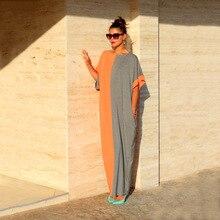 ANJAMANOR 2020 Summer Colorblock Women Elegant Dresses Plus Size Loose Maxi Dress Casual Beach Tunic Vestido D28-AB-43